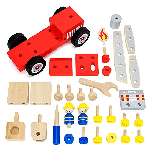 Erector Fire Truck - Wooden Wonders DIY Fire Engine, STEM Learning Playset - Build, Construct, & Tinker Fire Truck, Includes Truck, Firemen, Tools, Nuts, & Screws (34pcs.) by Imagination Generation