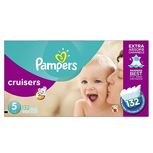 Pampers Cruisers Disposable Baby Diapers Size 5, Economy Plus Pack, 132 Count