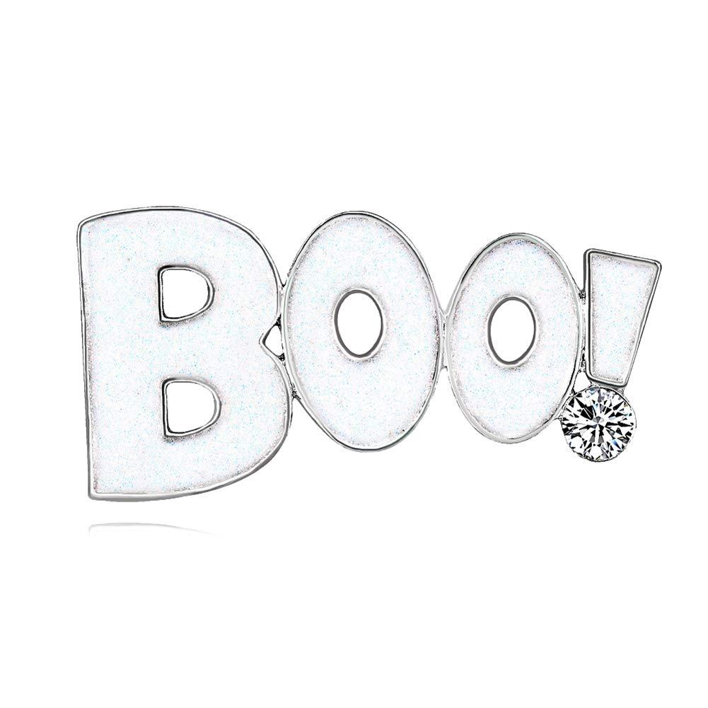 KANGGEST 1x Boo Halloween Broche Vê tements Accessoires Clip pour Femme ou Fille Cadeau Anniversaire Fê te Halloween Party Costume Dé coration Bijoux Blanc