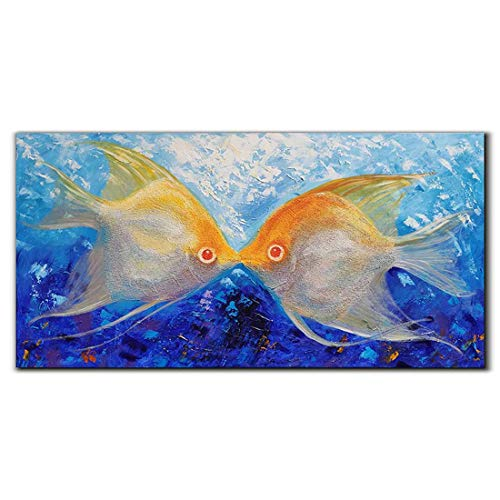 Yika Art Paintings, 24x48 Inch Abstract Painting 3D Kissing Fish Hand-Painted On Canvas Wall Decoration for Living Room Bedroom Hallway Office Ready to Hang - Fish Lover