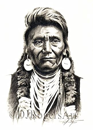 Chief joseph pencil drawing american indian art print signed by artist