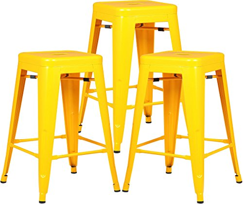 Poly and Bark Trattoria 24″ Counter Height Stool in Yellow (Set of 3) For Sale