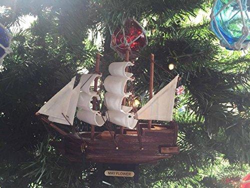 Wooden Mayflower Model Ship Christmas Tree Ornament - Nautical Decoration - Tre Mayflower Model Ship