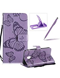 Strap Leather Case for Samsung Galaxy J3 2018,Wallet Leather Case for Samsung Galaxy J3 2018,Herzzer Premium Stylish Pretty 3D Purple Butterfly Printed Bookstyle Magnetic Full Body Soft Rubber Flip Portable Carrying Stand Case with Card Holder Slots