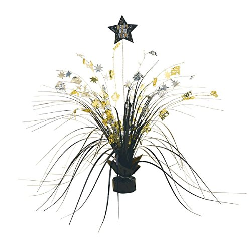 Rocking New Year Party Stars Spray Centerpiece Table Decoration, Black/Gold/Silver, Foil , 15
