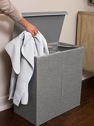 -[ BirdRock Home Laundry Hamper with Lid and Removable Liners - Washing Bin - (Double, Gray)  ]-