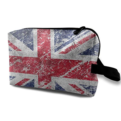 (With Wristlet Cosmetic Bags British Flag Travel Portable Makeup Bag Zipper Wallet)