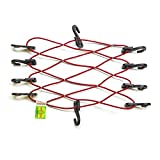 3/16'' Light Duty Bungee Cord Cargo Net 15 Inches X 12 Inches with 10 SIQCN ''Secure It Quick Cargo Net'' Hooks USA Made LD 5400 (Red)