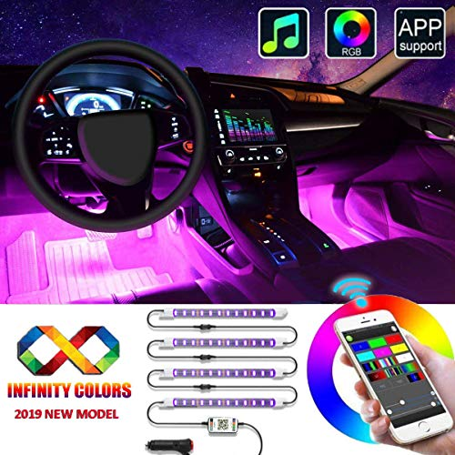 Updated Unifilar 16 Million Colors Sound Activated Car Led Lights Interior 4pcs Multi Colors Car Led Strip Lights Universal Under Dash Lighting Kit for All Vehicles, Parties, Outdoor (App Control)