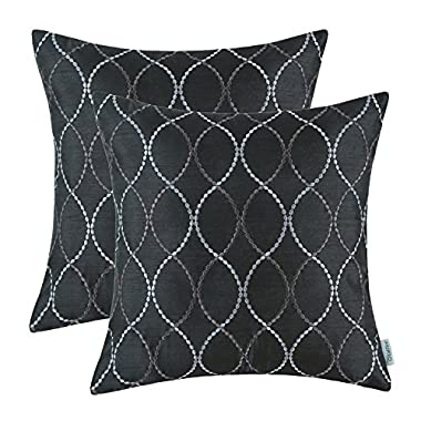 Pack of 2 CaliTime Pillow Shells Cushion Covers Faux Silk Waves Embroidered Black Color 18  X 18