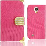WwWWSuppliers Luxury Hot Pink & Gold Wallet Crocodile Snake PU Leather Case for Samsung Galaxy S4 i9500 M919 i545 i337 Flip Cash Card Purse Cover + Free Stylus & Screen Protector