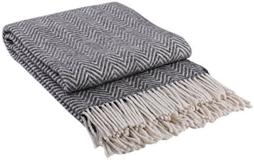 Wolldecke Wollplaid Decke 140x200cm Plaid Wohndecke 80% Wolle Grau-Weiß Milano Grau