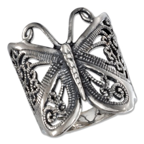 Sterling Silver Antiqued Butterfly Filigree Ring (size 09) (Antiqued Filigree Butterfly Ring)