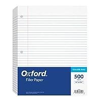 """Papel de relleno Oxford, 8-1 /2 """"x 11"""", Regla universitaria, Perforación de 3 orificios, Papel de hojas sueltas para carpetas de 3 anillos, 500 hojas por paquete (62349)"""
