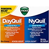 Vicks DayQuil & NyQuil Cough, Cold & Flu Relief Combo, 72 LiquiCaps (48 DayQuil, 24 NyQuil) - Relieves Sore Throat, Fever, and Congestion