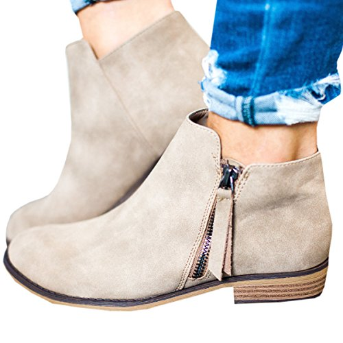 Ofenbuy Womens Leather Pointed Toe Stacked Low Heel Side Zipper Ankle Boots Booties,Beige,9 B(M) US