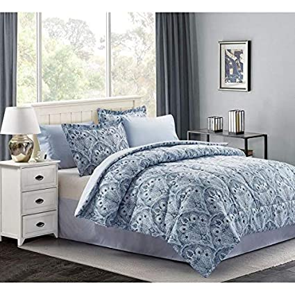 Amazon.com: 8 Piece Bed-In-Bag Contemporary Style Damask ...