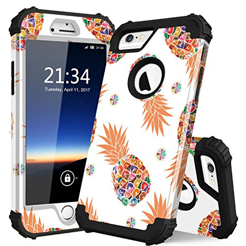 iPhone 6 case,iPhone 6s Case PIXIU Unique Hybrid Heavy Duty Shockproof Full-Body Protective Case with Dual Layer cases for Apple iPhone 6/6s 4.7inch (Pineapple)
