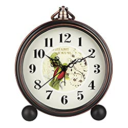 Hense 5 Classic Retro Antique Design European Style Decorative Mantel Clock Mute Silent Quiet Quartz Movement Metal Frame Desk Table Alarm clock HA65 (Parrot)