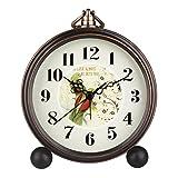 Hense 5'' Classic Retro Antique Design European Style Decorative Mantel Clock Mute Silent Quiet Quartz Movement Metal Frame Desk Table Alarm clock HA65 (Parrot)