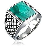 Men's Sterling Silver Checkerboard Malachite Ring, Size 9