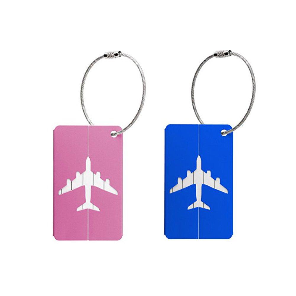Travel Luggage Tags Suitcase Tag Personalised Metal ID Luggage Handbag Label Tags (2 pcs) SwirlColor