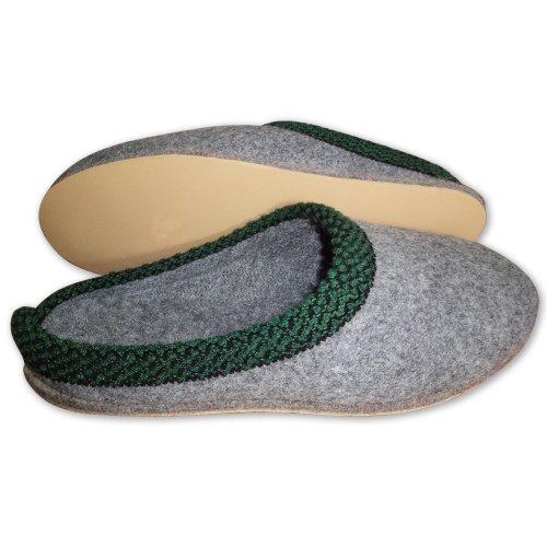 Walker Filzpantoffel Hausschuhe mit Porosohle in den Größen 36 bis 48 in grau mit grüner Zierleiste am Schaft