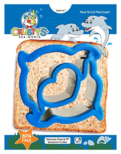 Crusty's Dolphin Sandwich Cutter Stainless Steel Crust & Cookie Cutter - Fun Bites for Kids & Toddlers - Extra Deep & Dishwasher Safe - BPA Free Bento Box Accessory [Dolphin Blue] (Bento Box Accesories compare prices)