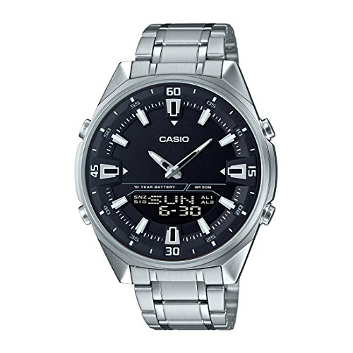 World Time Digital Alarm Chronograph - Casio AMW830D-1AV Men's Stainless Steel Black Dial Analog Digital Telememo 30 Watch