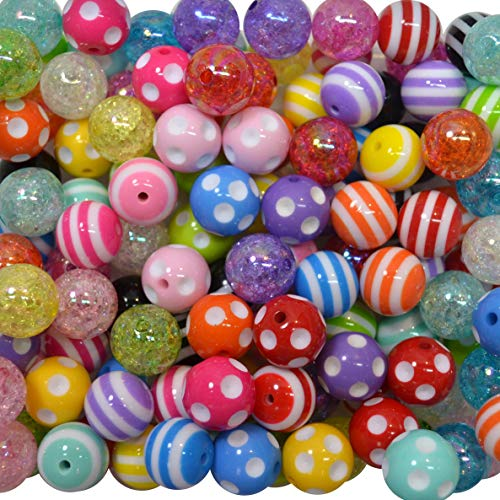 20mm Bulk Mix of Polka Dot, Stripe and Crackle Chunky Bubblegum Beads. 120 pc. Acrylic Gumball Beads ()