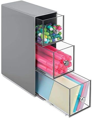 mDesign Estantería con cajones de plástico – Mueble de oficina con tres cajones – Práctica cajonera