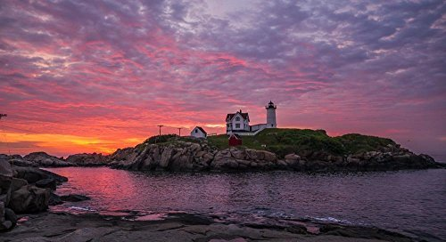 5x10 matted to 11x14 Nubble Lighthouse Dawn, Cape Neddick, Maine - Kittery Stores In