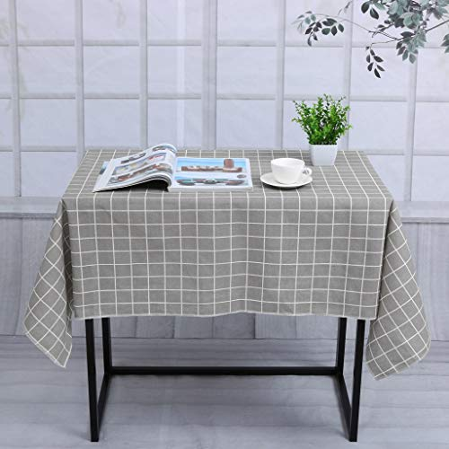 (LOVEER Washable Flax Table Cloth Rectangular 60 x 55 Spillproof, Premium Stain Resistant Checkered Painting Table Cover Home Decor (Gray))