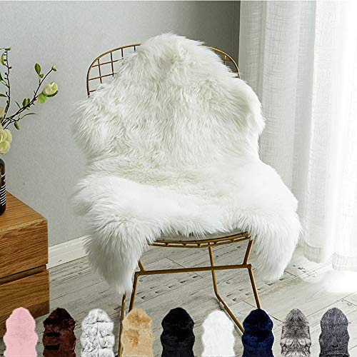 Carvapet Luxury Soft Faux Sheepskin Fur Chair Couch Cover Area Rug Bedroom Floor Sofa Living Room