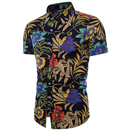 Han Shi❤️ Men Bohe Floral Blouse Summer Short Sleeve Plus Size T Shirt Tank Top (Black, 5XL) by Han ShiTM-Blouse