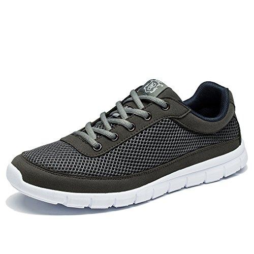 NeedBo NDB Mens Lightweight Fashion Sneaker Comfortable Running Walking Shoe Dark Grey WagS5m