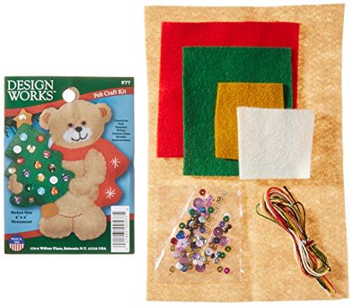 "Tobin 577 N/A Bear & Tree Ornament Felt Applique Kit-3""X4"",,"