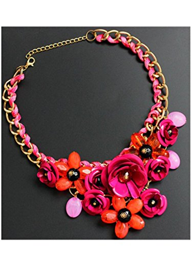 Hot Diamonds Silver Mens Bracelets (Women Girls Collar Statement Necklace Cuekondy Mixed Style Chain Crystal Colorful Flower Luxury Weave Pendant Jewelry (Hot Pink))
