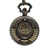 USSR Soviet Sickle Hammer Quartz Pocket Watch Necklace Chain Men's Pendant Bronze