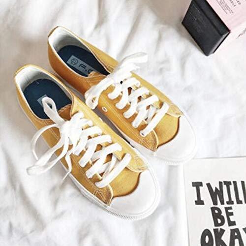 ZHZNVX Zapatos cómodos de Mujer Zapatos Deportivos de Lona de Primavera y Verano Talón Plano Blanco/Negro / Amarillo Yellow
