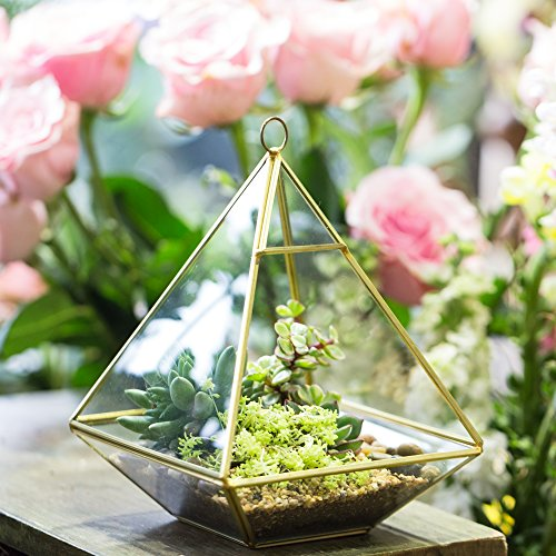 Copper pyramid vertical metal glass geometric wall hanging