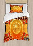 Big buy store Steampunk Duvet Cover, Steampunk Retro Mechanism Antique Engine Gear Ancient Technology Vibrant Colors, Decorative 4 Piece Bedding Set with 2 Pillow Sham, Multicolor(Twin)
