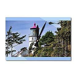 Lantern Press Florence, Oregon - Heceta Head Lighthouse on Blue Sky with Trees 9018732 (Acrylic Wall Clock)