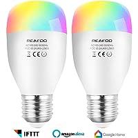Lampadina LED, REAFOO Lampadina Smart LED Wifi E27 7W RGBW Dimmerabile Multicolore, Telecomando connessione Wi-Fi 2,4 GHz, Lampadina Intelligente compatibile con Google Home Alexa IFTTT (2 Pack)
