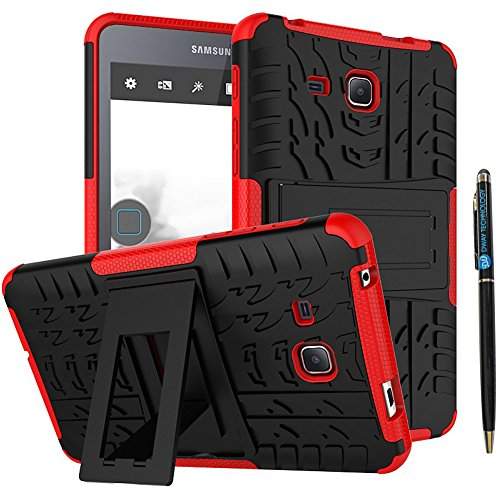 Tab A 7.0 Case DWaybox Armor 2in1 Combo Hybrid Rugged Heavy Duty Hard Back Cover Case with Kickstand for Samsung Galaxy Tab A 7 Inch 2016 SM-T280 / T285 / Samsung Tab A6 A7 7.0 (Red)