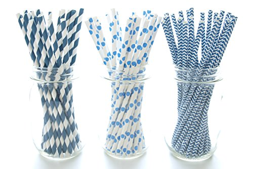 Navy Blue Straws - Paper Party Straws (75 Pack) - Assorted Design Striped, Polka Dot & Chevron Wedding Straws, Cake Pop Sticks, Lollipop (Chevron Blue Dessert Plates)