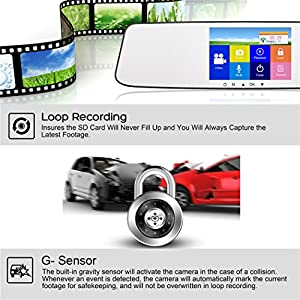 VICTONY 4.3 Inch Touch Screen Full HD 1080P Dual Lens Car Camera,170° Wide Angle Front Lens and Rearview Backup Camera with G-Sensor, Loop Recording,Night Vision(SD Card Included)