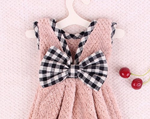 Towels Dress Coral Color Kitchen Velvet Soft Pink Bow 1PC Absorbent Pink Kids Wanyne Hand Towel wCtPqBZtx
