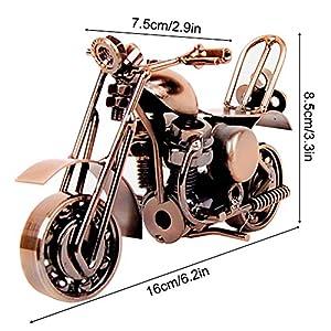 SwirlColor Model Motorcycle, Classic Metal Motorbike Model Creative Birthday Gift for Boyfriend Dad Photography Decor Props(retro coppery)