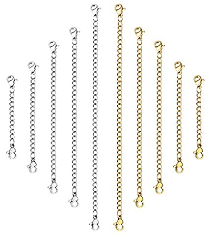 ORAZIO 10Pcs Stainless Steel Necklace Bracelet Extender Chain Set,Silver and Gold Tone,2